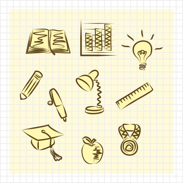 Set of simple flat educational yellow-brown school icons vector art illustration