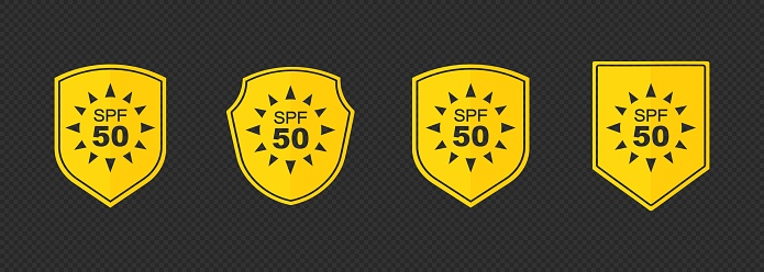 Set of simple flat SPF sun protection icons for sunscreen packaging. UV protection for skin. Icons for sunscreen products or other skin cosmetics. Vector on isolated background. EPS 10