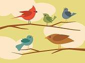 set of simple flat style cartoon birds