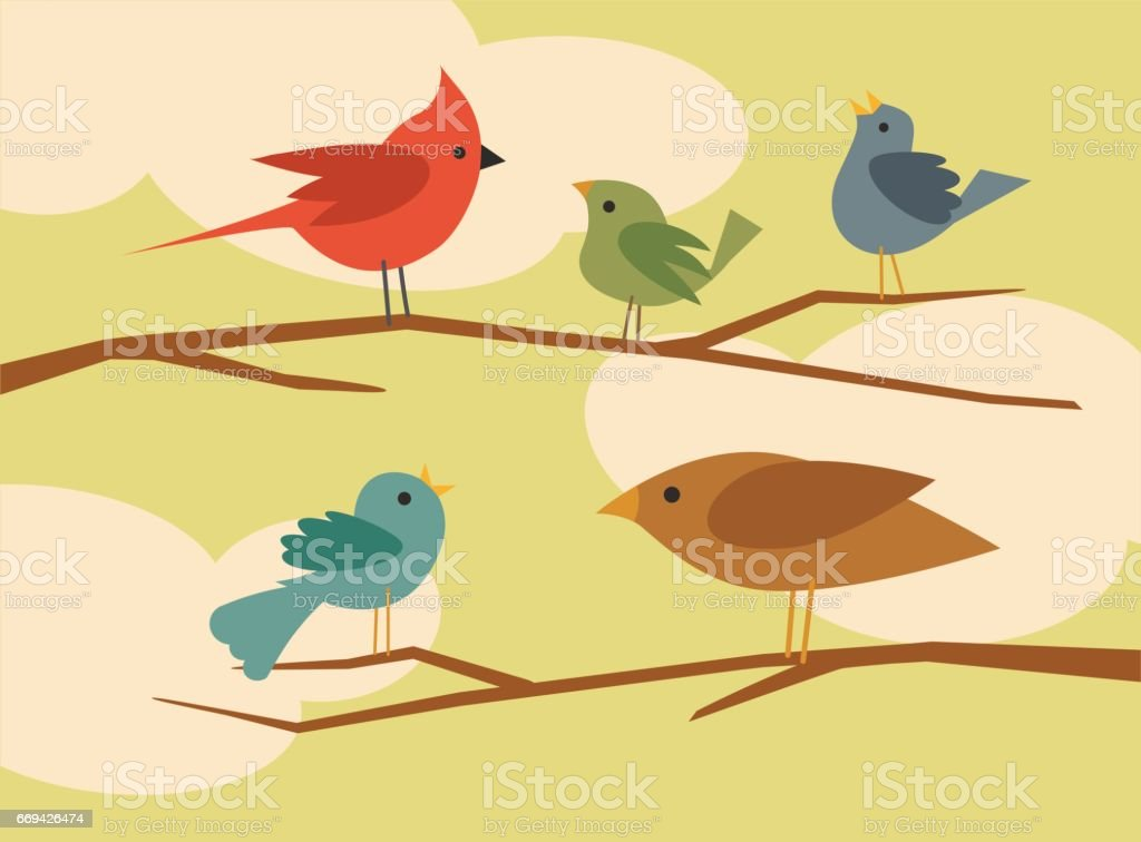 set of simple flat style cartoon birds vector art illustration