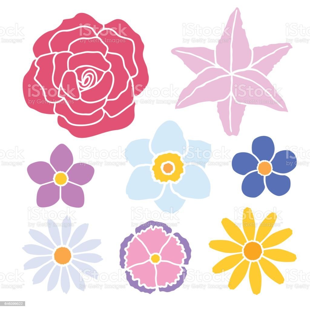 set of simple flowers color silhouette stock vector art 646399522