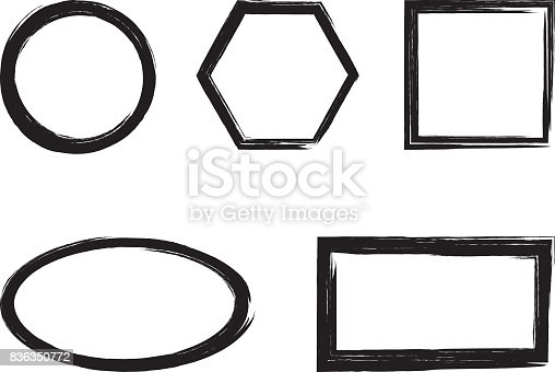 Set of simple frames pictured torn intermittent brush. Black color. Isolated.