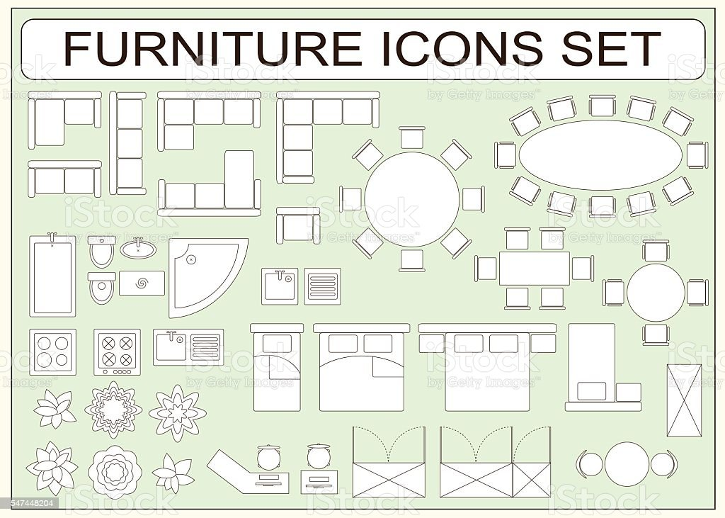 Set of simple furniture vector icons as design elements vector art illustration