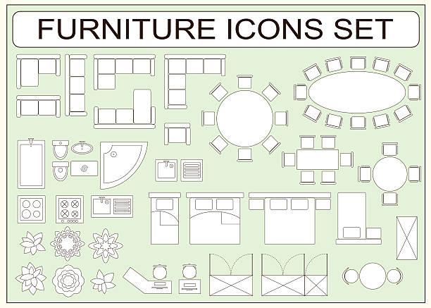set of simple furniture vector icons as design elements - tischarrangements stock-grafiken, -clipart, -cartoons und -symbole