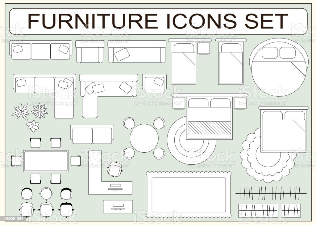 floor plan furniture vector. Set Of Simple Furniture Vector Icons As Design Elements Royalty-free Floor Plan E