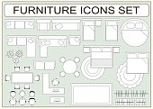 Set of simple furniture vector icons as design elements