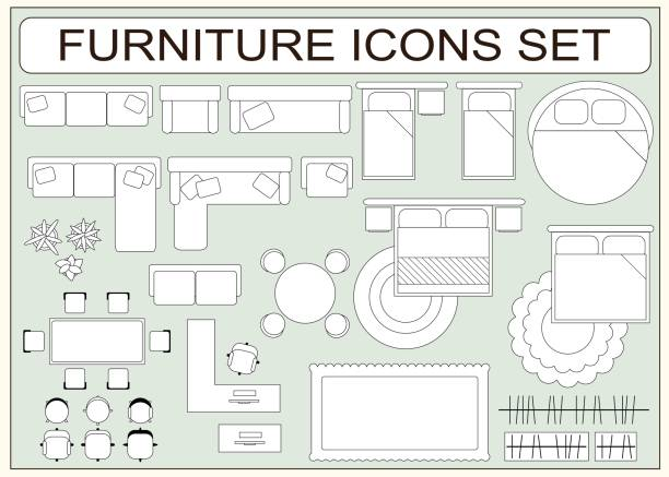 Set of simple furniture vector icons as design elements Set of simple furniture vector icons as design elements - sofa, table, computer desk, carpet, wardrobe, bed, chair, plants, armchair. Top view. EPS8 overhead stock illustrations