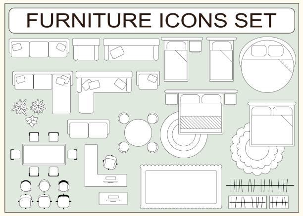 ilustraciones, imágenes clip art, dibujos animados e iconos de stock de conjunto de iconos de vector de mobiliario sencillo como elementos de diseño - overhead