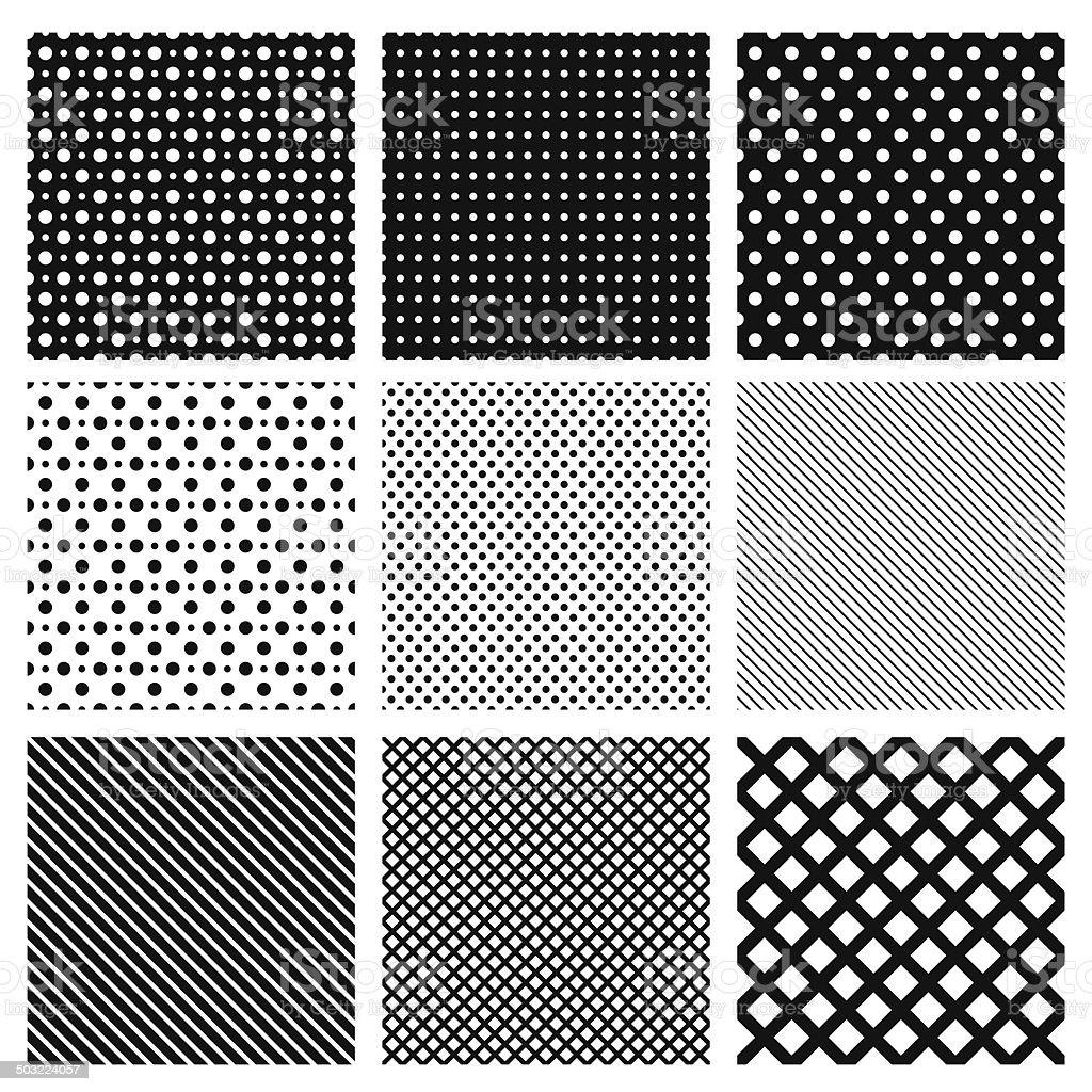 Set of simple geometric seamless patterns.  Vector illustration. Background. vector art illustration