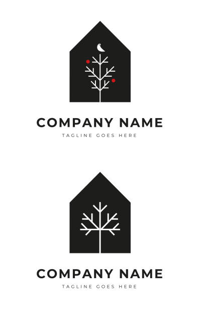 Set of Simple House with tree silhouette logo identity for park residence ornamental vector art illustration
