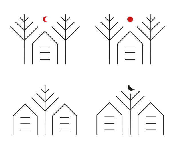 Set of Simple House within the trees logo identity for green park residence ornament vector art illustration