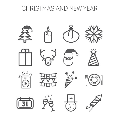 Set of simple icons for New Year and Christmas