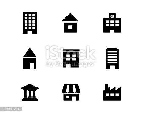 Set of simple icons such as buildings, houses, shops and schools
