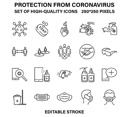A set of simple linear icons for protection and prevention from coronavirus