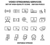 A set of simple linear icons for streaming video services and online cinemas. Vector illustration with editable stroke.