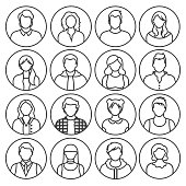 set of simple linear icons. personal avatar. people. vector illustration