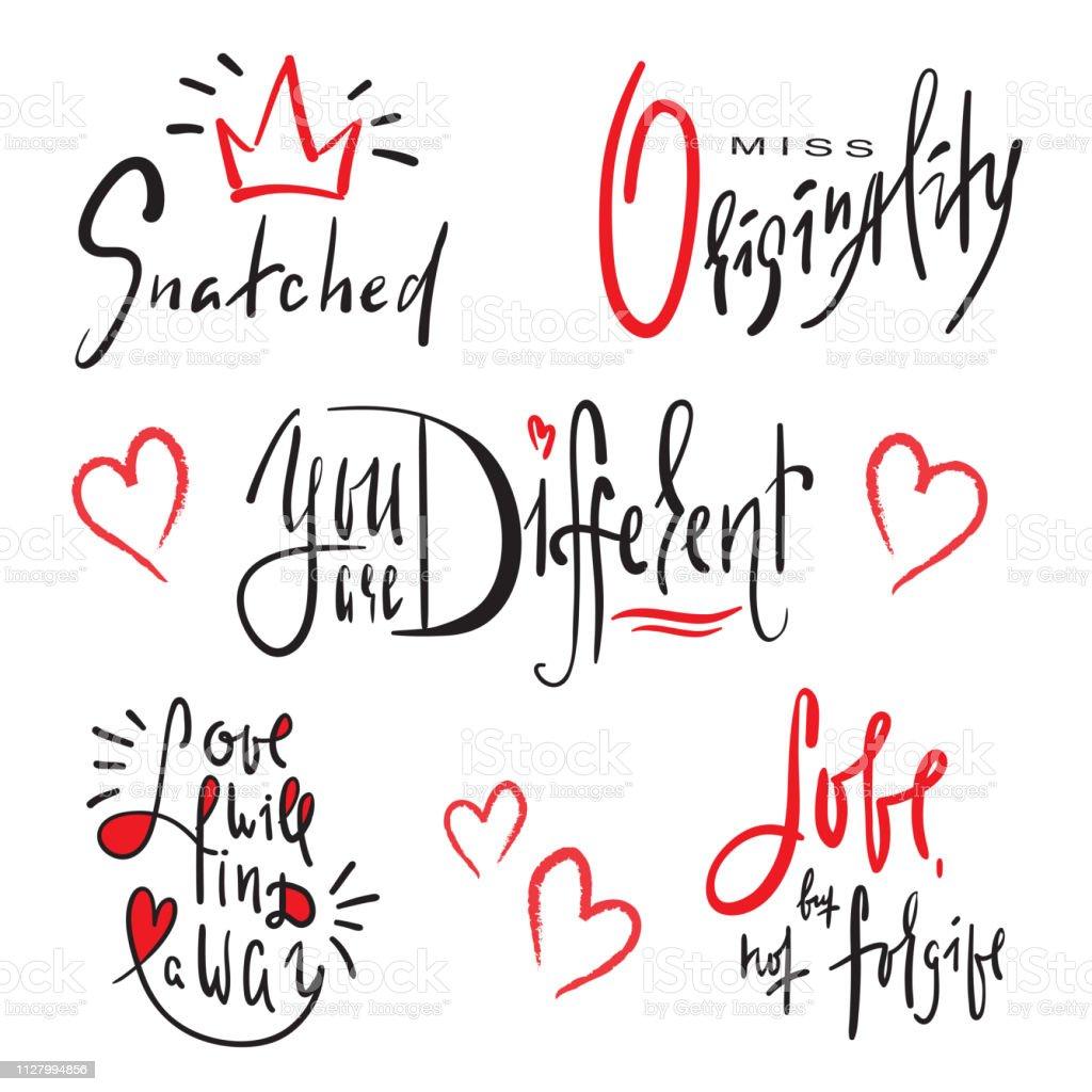 Ilustración De Conjunto De Frases De Amor Simple Mano Dibuja