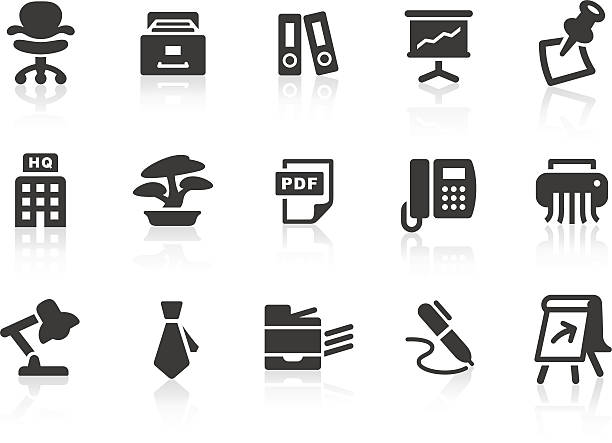 satz von einfachen büro arbeiten ähnliche symbole - flipchart stock-grafiken, -clipart, -cartoons und -symbole