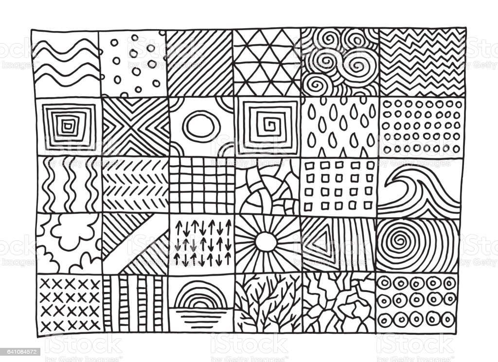 Set Of Simple Patterns Drawing Stock Vector Art & More ...