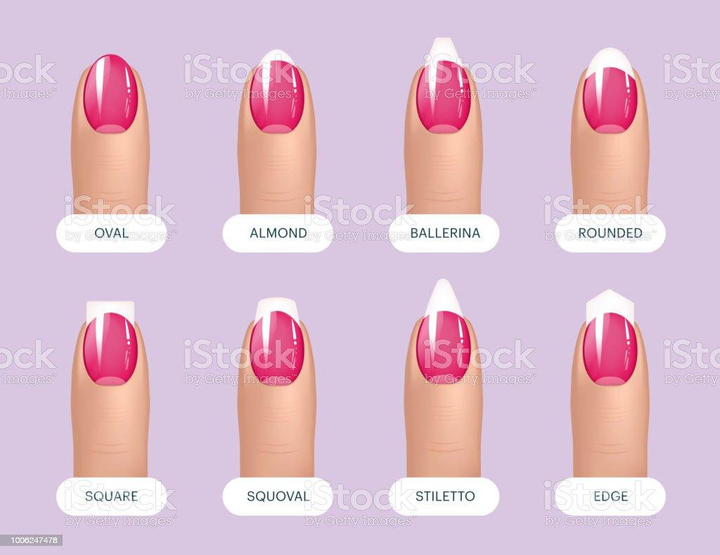 till salu kvalitetsprodukter billig Set Of Simple Realistic Pink Manicured Nails With Different Shapes ...
