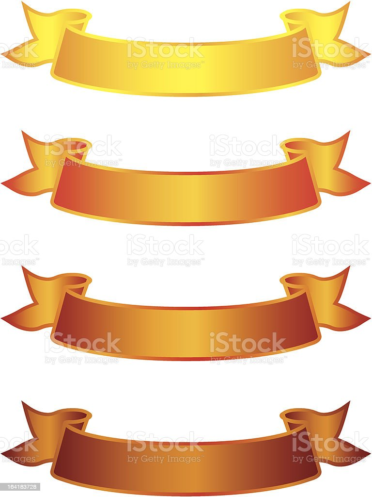Set of simple Ribbons vector art illustration