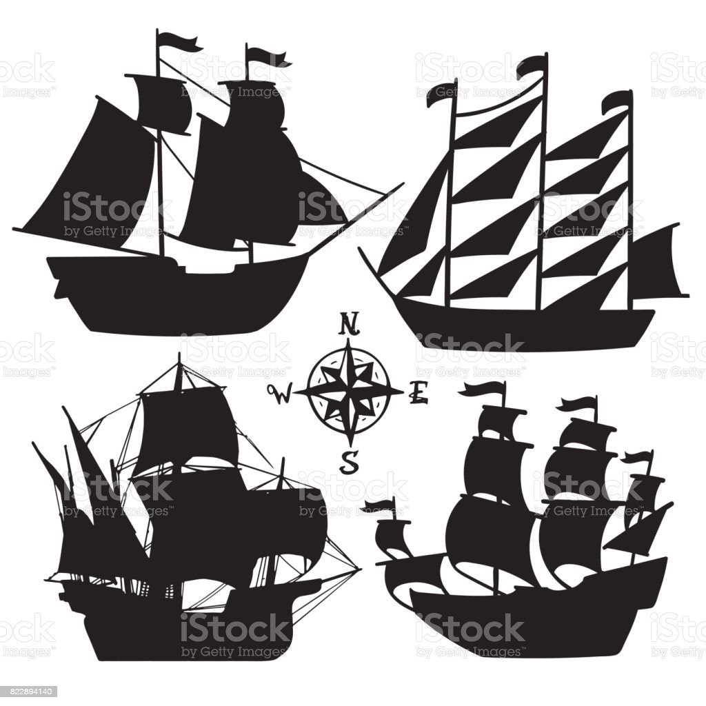 Set of simple sketch illustrations old sailboats, pirate ships with a sail silhouette vector art illustration
