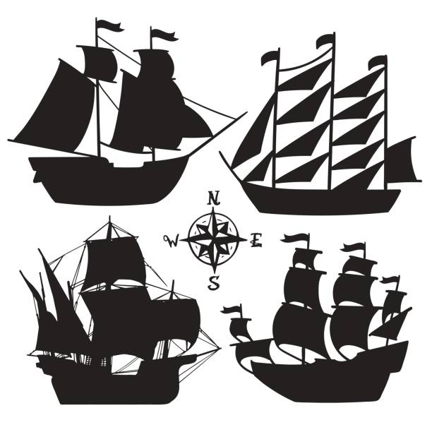 set of simple sketch illustrations old sailboats, pirate ships with a sail silhouette - statek stock illustrations