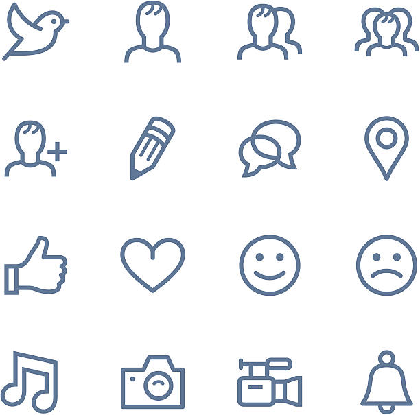 Set of simple social media icons Vector Line icons set. One icon consists of a single object. Files included: Vector EPS 8, HD JPEG 3000 x 3000 px bird icons stock illustrations