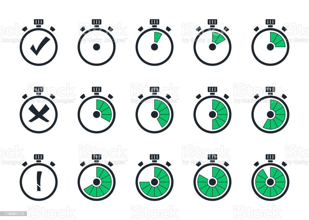 Set of simple timers. Template digital clock, timer symbols....