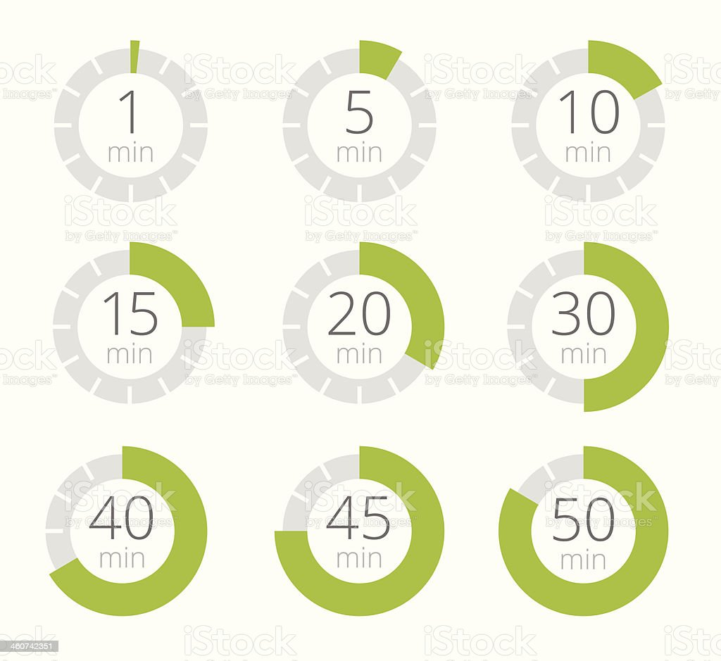 Set of simple timers vector art illustration