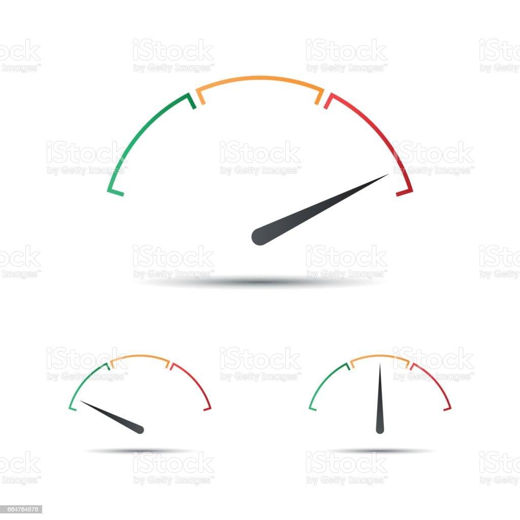 Set of simple vector tachometer with indicator in green, yellow and red part, speedometer icon, performance measurement symbol vector art illustration