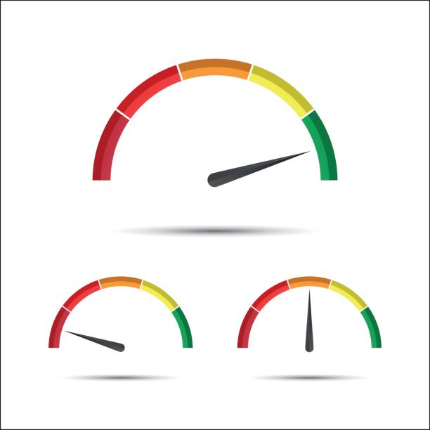 Set of simple vector tachometers with indicator in green, yellow and red part, speedometer icon, performance measurement symbol isolated on a white background vector art illustration