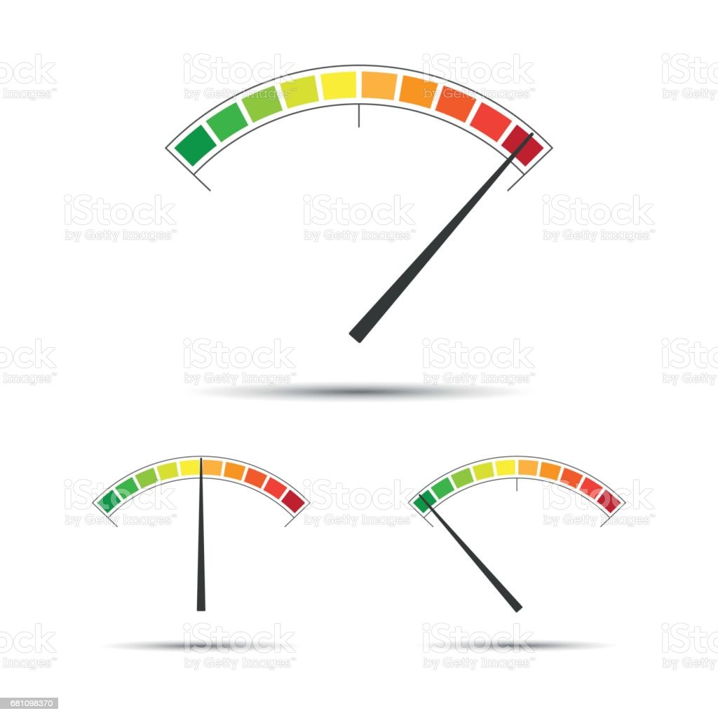 Set of simple vector tachometers with indicators in red, yellow and green part vector art illustration