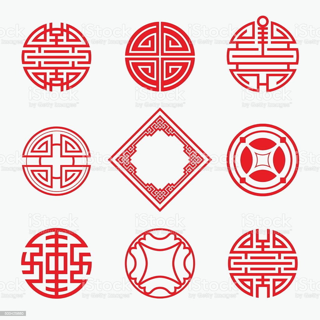 Set of Simply oriental art for Chinese new year ornament. vector art illustration