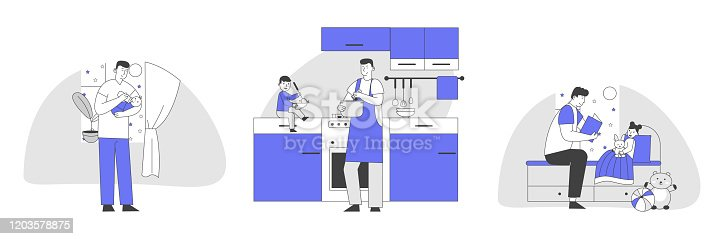 istock Set of Single Father Engaged in Raising Children. Dad Feed Son with Bottle, Cooking Meal, Reading Book to Daughter. Happy Family Sparetime of Kids and Daddy, Cartoon Flat Vector Illustration, Line Art 1203578875