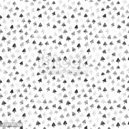 White square paper card filled by tiny triangular shapes painted by black watercolor paint. It seems like Christmas Trees. Seamless pattern in vector full of imperfections. Zoom to see the details! Great design for Christmas card design and wrapping papers.