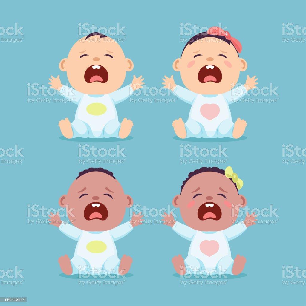 Cartoon baby weinen   Premium-Vektor