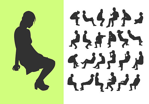 ilustraciones, imágenes clip art, dibujos animados e iconos de stock de set of sitting silhouettes - silhouette people