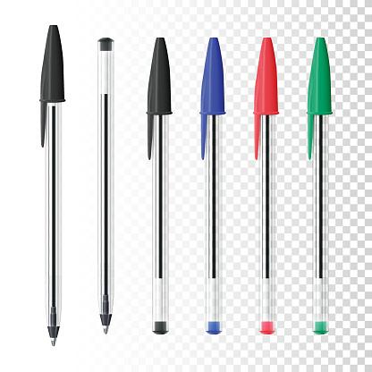 Set of six ballpoint pens on blank background