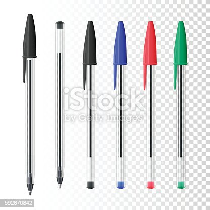 istock Set of six ballpoint pens on blank background 592670842
