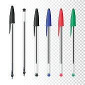 istock Set of six ballpoint pens on blank background 592670842