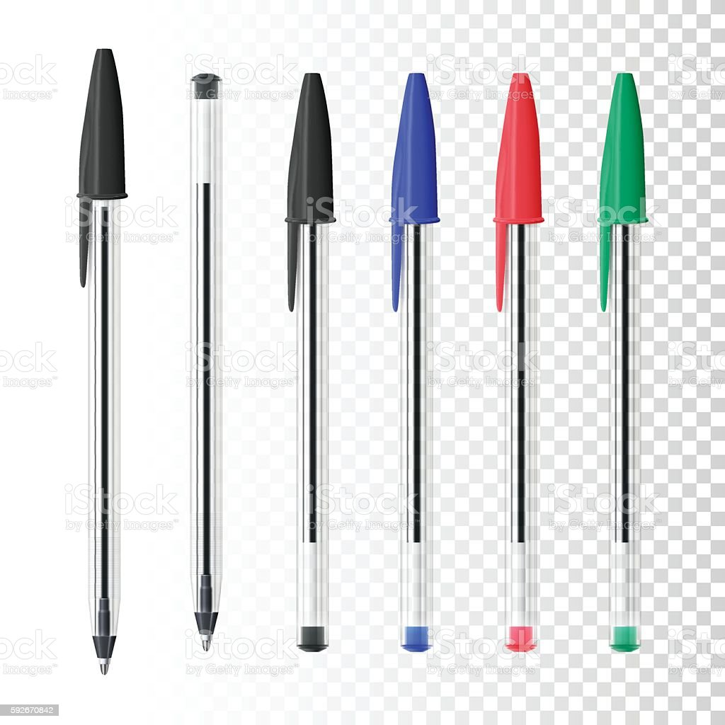 Set of six ballpoint pens on blank background - ilustración de arte vectorial