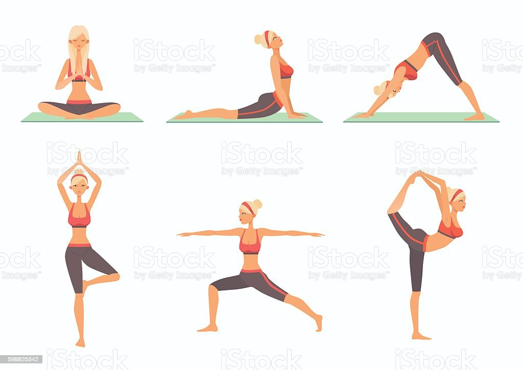 Set Of Six Basic Yoga Poses Stock Illustration - Download ...
