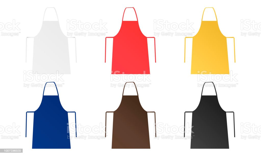 Set of six blank aprons isolated