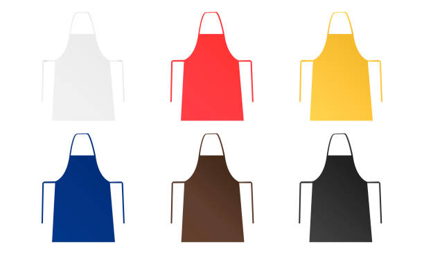Set of six blank aprons isolated Set of six blank aprons isolated on white background. Mockups for your brand logo or design. Vector illustration apron isolated stock illustrations