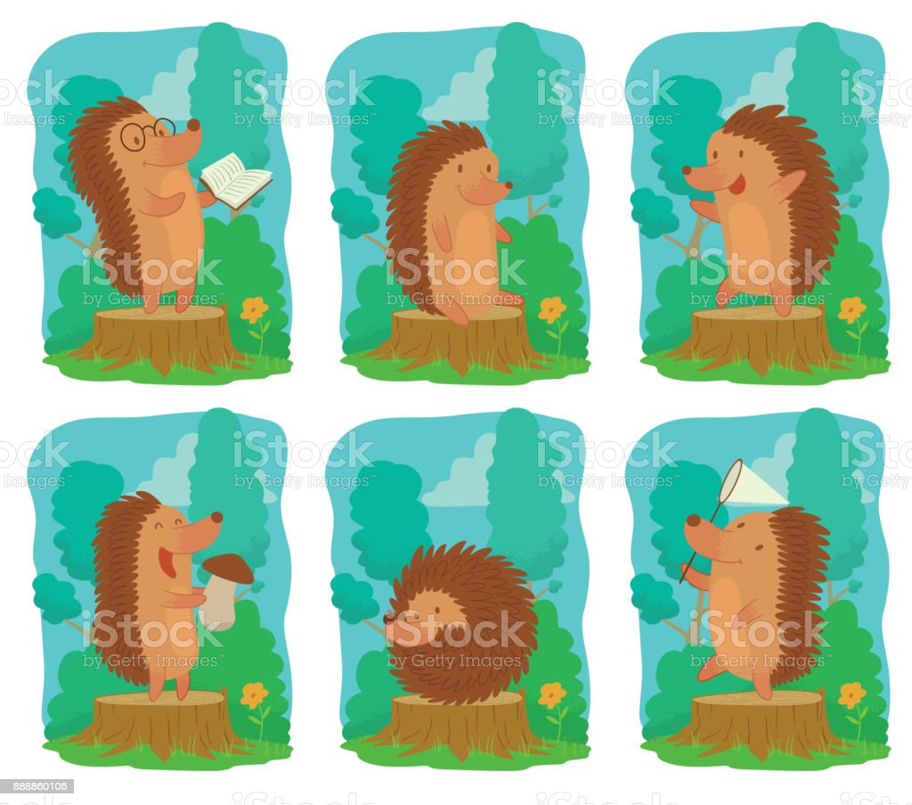 Set of six cards with funny brown hedgehogs vector art illustration