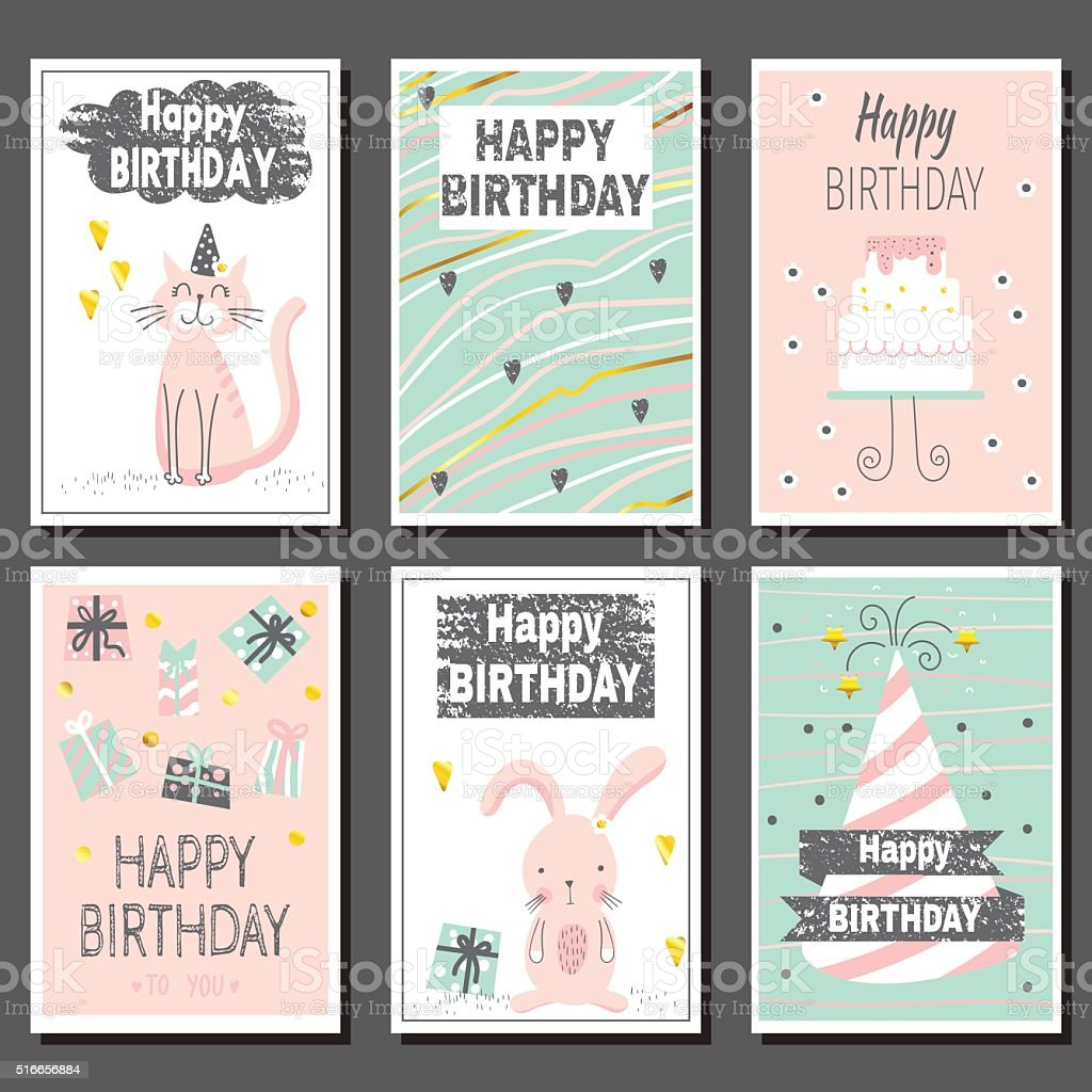 Prime Set Of Six Childrens Birthday Cards Stock Illustration Download Funny Birthday Cards Online Alyptdamsfinfo