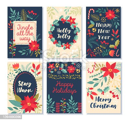 Set of six Christmas patterns with holiday greetings, poinsettia, decorations and flowers, colored vector illustration
