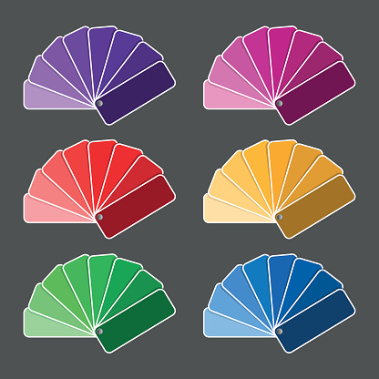 Set Of Six Color Palette Purple Pink Red Yellow Green Nad ...
