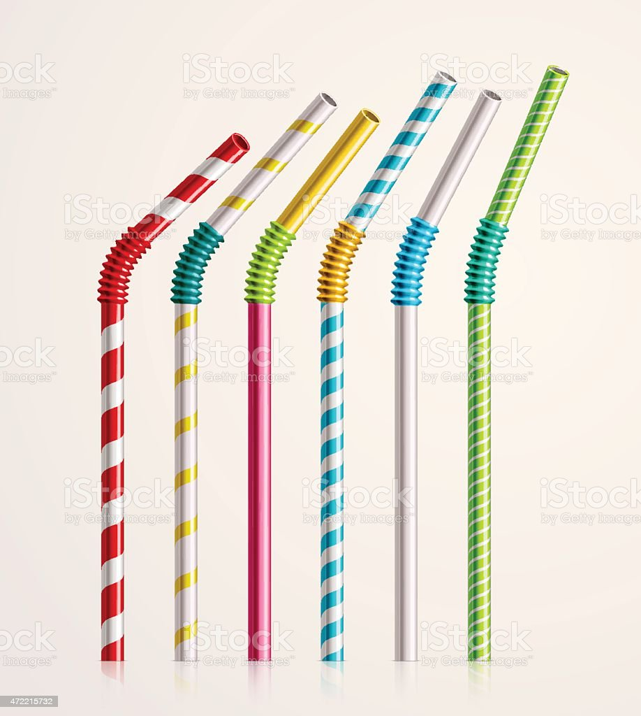 Set of six colored bendy drinking straws vector art illustration